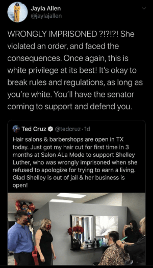Another White Person Wrongly Imprisoned For Violating The Law: Another White Person Wrongly Imprisoned For Violating The Law