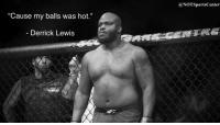 "Sports, True, and Inspiration: aNOTSportsCenter  ""Cause my balls was hot.""  Derrick Lewis Derrick Lewis, a true inspiration #UFC229 https://t.co/hP8Tev4Yfp"