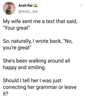 "Confused, Memes, and Happy: Ansh Rai  @Ansh_Rai  My wife sent me a text that said,  ""Your great  So, naturally, I wrote back, ""No,  you're great  She's been walking around all  happy and smiling  Should I tell her I was just  correcting her grammar or leave  it Im confused via /r/memes https://ift.tt/2NZBtJS"