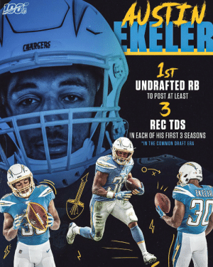 .@AustinEkeler is doing things no undrafted RB has EVER done before. ⚡⚡⚡  @Chargers | #BoltUp https://t.co/nVRKl1IorI: ANSTEN  FKELER  CHARGERS  1ST  UNDRAFTED RB  TO POST AT LEAST  3  REC TDS  IN EACH OF HIS FIRST 3 SEASONS  *IN THE COMMON DRAFT ERA  LOSR  EKELER .@AustinEkeler is doing things no undrafted RB has EVER done before. ⚡⚡⚡  @Chargers | #BoltUp https://t.co/nVRKl1IorI