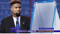 Football, Meme, and Memes: ant CnCt  an  @NFL MEMEs  THE GIANTS KICKING NET  ODELL BECKHAM  PRESIDENTIAL DEBATE HOFSTRA UNIVERSITY The real debate everyone wants to see...