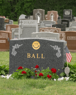 Tumblr, Blog, and Http: ANTASIA  DURANT  KELLE  NKA  BALL d1rtpunk: chrismaggio: RIP Harvey Ball, inventor of the smiley face 🙂 (1921-2001)  ok its sad that he died but this is the FUNNIEST headstone ive ever seen