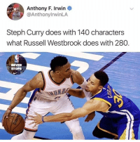 As you can see, there's a ton of amazing NBA content on instagram🔥 Drop a comment 👇🏽 Steph or Russ ‼️ If you aren't already, I HIGHLY recommend giving the following pages a follow🙌🏼 - @thenbaneverstops @nba.in_depth @the.nba.talk @bucketscenter @the.nba.ace: Anthony F. Irwin  @AnthonylrwinLA  Steph Curry does with 140 characters  what Russell Westbrook does with 280.  NEVER  STOPS As you can see, there's a ton of amazing NBA content on instagram🔥 Drop a comment 👇🏽 Steph or Russ ‼️ If you aren't already, I HIGHLY recommend giving the following pages a follow🙌🏼 - @thenbaneverstops @nba.in_depth @the.nba.talk @bucketscenter @the.nba.ace