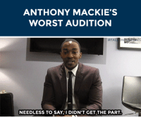 "Target, youtube.com, and Watch: ANTHONY MACKIE'S  WORST AUDITION   #FA  NEEDLESS TO SAYI DIDN'T GET THE PART <p><b>WEB EXCLUSIVE:</b></p><p><a href=""https://www.youtube.com/watch?v=G6ma3aFYv5k&list=PLykzf464sU98iBX48N5iuHzslodP7Hzci&index=149"" target=""_blank"">Backstage, Anthony Mackie discusses an audition where he made the director a little angry…</a></p>"