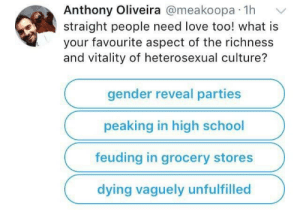 Richness: Anthony Oliveira @meakoopa 1h  straight people need love too! what is  your favourite aspect of the richness  and vitality of heterosexual culture?  gender reveal parties  peaking in high school  feuding in grocery stores  dying vaguely unfulfilled