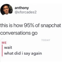 Dank, Snapchat, and Today: anthony  @xforcades2  this is how 95% of snapchat  conversations go  TODAY  ME  wait  what did i say again This how it always be.