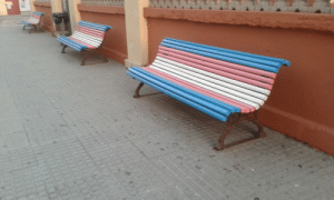 Target, Transgender, and Tumblr: anti-capitalistlesbianwitch: I came across some benches painted like the transgender pride flag today!