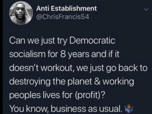 Business, Socialism, and Anti: Anti Establishment  @ChrisFrancis54  Can we just try Democratic  socialism for 8 years and if it  doesn't workout, we just go back to  destroying the planet & working  peoples lives for (profit)?  You know, business as usual. Let's just try it