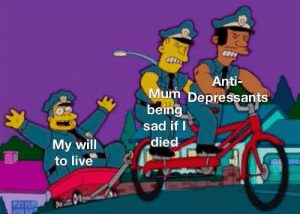 Will To Live: Anti-  Mum Depressants  being  sad if I  died  My will  to live