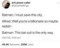 Batman, Dank, and Power: anti power caller  @QGotNoRings  Batman: Imust save this city.  Alfred: Well you're a billionaire so maybe  redistr-  Batman: This bat suit is the only way.  25/7/18, 4:56 am  49.4K Retweets 200K Likes