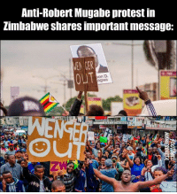 """Wenger out"" 😂🇿🇼👏: Anti-Robert Mugabe protest iin  Zimbabwe shares important message:  MEN GER  OUT  on D  agwa ""Wenger out"" 😂🇿🇼👏"