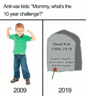 "47 Hilarious 10 Year Challenge Memes | What is #10YearChallenge?: Anti-vax kids: ""Mommy, whats the  10 year challenge?""  Dead Kid  2009-2019  Died of measles  polio,rabies, plague  and the big gay  2009  2019 47 Hilarious 10 Year Challenge Memes 