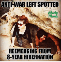 ANTI-WAR LEFT SPOTTED  meme  REEMERGING FROM  8-YEAR HIBERNATION Oh Liberty Memes lol