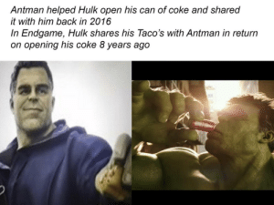 Tumblr, Hulk, and Antman: Antman helped Hulk open his can of coke and shared  it with him back in 2016  In Endgame, Hulk shares his Taco's with Antman in return  on opening his coke 8 years ago awesomacious:  Very wholesome hulk