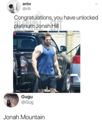 Jonah Hill, Memes, and Congratulations: anto  @rib  Congratulations, you have unlocked  platinum Jonah Hill  Gugu  @Gug  Jonah Mountain 😂The incredible hill