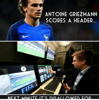 Video technology... 👍 or 👎: ANTOINE GRIEZMANN  SCORES A HEADER.  NCYT MINI ITE IT'S DIS A I I OWCD COD Video technology... 👍 or 👎