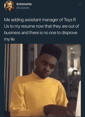 I just got promoted!: Antoinette  @Llaaves  Me adding assistant manager of Toys R  Us to my resume now that they are out of  business and there is no one to disprove  my lie I just got promoted!