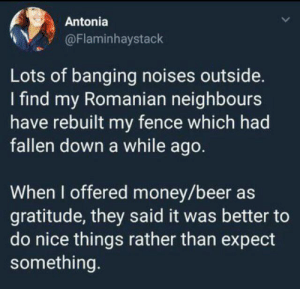 Beer, Money, and Banging: Antonia  @Flaminhaystack  Lots of banging noises outside.  I find my Romanian neighbours  have rebuilt my fence which had  fallen down a while ago.  When I offered money/beer as  gratitude, they said it was better to  do nice things rather than expect  something. Wholesome neighbours.