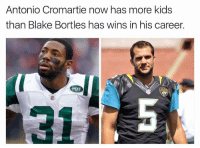 What a time to be alive 😂😂 https://t.co/XFZ4DK8bKq: Antonio Cromartie now has more kids  than Blake Bortles has wins in his career.  JAGS What a time to be alive 😂😂 https://t.co/XFZ4DK8bKq