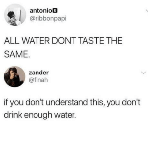 Definitely, Water, and Core: antonioE  @ribbonpapi  ALL WATER DONT TASTE THE  SAME.  zander  @finah  if you don't understand this, you don't  drink enough water. There's definitely some truthful core to this