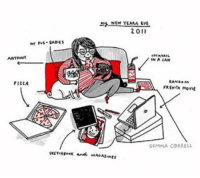 Memes, Pizza, and French: ANTwwNf  PIzzA  NEW YEARS EVE  20  IN A CAN  RAND. M  FRENCH movie  GEMMA CORRELL This is from 2011 but I spent new year the same way this year (except instead of the French movie, I watched RuPaul's Drag Race Allstars) ❤ introvertparty