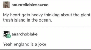 Dank, England, and Ftw: anunreliablesource  My heart gets heavy thinking about the giant  trash island in the ocean.  anarchoblake  Yeah england is a joke Northern Ireland FTW by Trollalola MORE MEMES