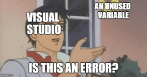Visual Studio in a nutshell: ANUNUSED  VARIABLE  VISUAL  STUDIO  ISTHISAN ERROR? Visual Studio in a nutshell