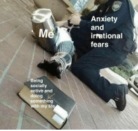 irrational: Anxiety  and  irrational  fears  Me  Being  socially  active and  doing  somethings  with my life