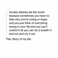 Memes, 🤖, and Idea: Anxiety attacks are the worst  because sometimes you have no  idea why you're crying or angry  and you just think of everything  wrong in your life and you can't  control it all you can do is breath in  and out and cry it out  This. Story of my life.