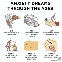 Anxiety is timeless: ANXIETY DREAMS  THROUGH THE AGES  MANNA  NAA  NA  lat  2017  1917  1517  IPHONE IN UNKNOWN  TYPEWRITER KEYS  VELLUM TOO SOGGY  LANGUAGE  ALL THE SAME  TO TAKE QUILL  LETTER  2,400 BC  33,000 BC  150 BC  HIEROGLYPHS  SMOKE SIGNALS  CHARCOAL JUST  WON'T RISE  MYSTERIOUSLY  CRUMBLES TO DUST  DISAPPEAR  BECKY BARNicoAT Anxiety is timeless