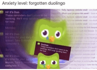 Irish, Anxiety, and Email: Anxiety level: forgotten duolingo  Daily Japanese reminder email www.duol  What's your progress this week?- Score m  Dally Jopanese reminder email www duol  paesereminder email www duol  e reminder emait ww.duol  is eviving the Irish langua  50 Hi! It's Duo.  to be  These reminders don't  working. We'll stop  for now  Monday  ges sde him famous  Hil It's Duo  on the Doolings  It's  Duolingo  These reminders don't seem to be  working. We'll stop sending them  for now  yor progress this wek  Japnese dnder eall  Sapase remind email  Jopanese derail  ow Diolingo is reviving the Irits  Learning languages made him fat  We miss yout olingo Fre l  3  Hit It's Duo  It's time for yourd  lesson. Take 5 minude  complete it