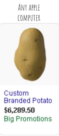 ANY APPLE  COMPUTER  Custom  Branded Potato  $6,289.50  Big Promotions