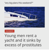 "GET THE LUDES!!!: ""any big plans this weekend?""  INCIDENTS  Young men rent a  yacht and it sinks by  excess of prostitutes GET THE LUDES!!!"