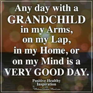 Memes, Good, and Home: Any day with a  GRANDCHILD  in my Arms.  on my Lap,  in my Home, or  on my Mind is  VERY GOOD DAY.  Positive Healthy  Inspiration  Whilney Gordon Mead.com  with Positive Healthy Inspiration ❤️
