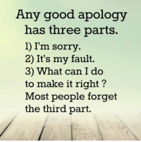 Apology: Any good apology  has three  parts.  l I'm sorry  2) It's my fault.  3) What can I do  to make it right?  Most people forget  the third part.