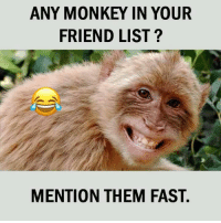 Fast tag😂😝: ANY MONKEY IN YOUR  FRIEND LIST?  MENTION THEM FAST. Fast tag😂😝