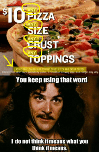 Pizza, Pizza Hut, and The Worst: ANY  PIZZA  ANY  ANY  ST  TUPPINGS  You keep using that word  ANY  ADDITIONAL CHARGE FOR STUFFED CRUST PIZZA AND EXTRA CHEESE  Limited Time Offer. Crust availability, prices, participation, delivery areas and charges may vary  I do not think it means what you  think itmeans. Verizon isn't the only company that does it. Pizza Hut is the worst.