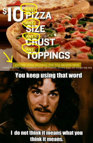 Verizon isn't the only company that does it. Pizza Hut is the worst.: ANY  PIZZA  ANY  ANY  ST  TUPPINGS  You keep using that word  ANY  ADDITIONAL CHARGE FOR STUFFED CRUST PIZZA AND EXTRA CHEESE  Limited Time Offer. Crust availability, prices, participation, delivery areas and charges may vary  I do not think it means what you  think itmeans. Verizon isn't the only company that does it. Pizza Hut is the worst.