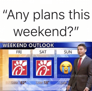 "Here are 11 of the Latest Hilarious Christian Memes on the Internet: ""Any plans this  weekend?""  WEEKEND OUTLOOK  SUN  FRI  SAT  @bestchurchmemes  Low 62  Low 58  Low Here are 11 of the Latest Hilarious Christian Memes on the Internet"