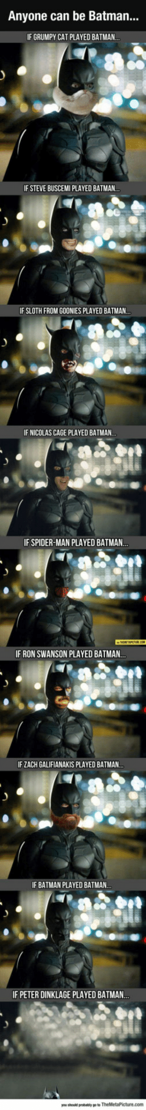 lolzandtrollz:  When Anyone Can Be Batman: Anyone can be Batman...  IF GRUMPY CAT PLAYED BATMAN..  IF STEVE BUSCEMI PLAYED BATMAN..  IF SLOTH FROM GOONIES PLAYED BATMAN..  IF NICOLAS CAGE PLAYED BATMAN..  IF SPIDER-MAN PLAYED BATMAN...  IF RON SWANSON PLAYED BATMAN..  IF ZACH GALIFIANAKIS PLAYED BATMAN..  IF BATMAN PLAYED BATMAN.  IF PETER DINKLAGE PLAYED BATMA..  you should probably po to TheMetaPicture.com lolzandtrollz:  When Anyone Can Be Batman