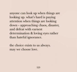The Choice: anyone can look up when things are  looking up. what's hard is paying  attention when things  down approaching chaos, disaster,  and defeat with earnest  looking  are  determination & loving eyes rather  than hateful ignorance.  the choice exists to us always  may we choose love  LD