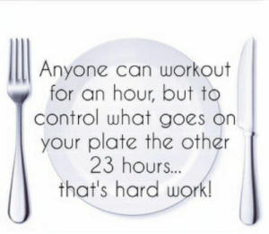 Control, Work, and Can: Anyone can workout  for an hour, but to  control what goes on  your plate the other  23 hours...  that's hard work! This.