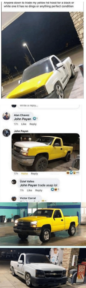 blessedimagesblog:Blessed_trade: Anyone down to trade my yellow hd hood for a black or  white one it has no dings or anything perfect condition  Write a reply...  GREB  Alan Chavez  John Payan  17h Like Reply  John Payan  D 60  17h Haha Reply  Üzieł Valles  John Payan trade asap lol  11h Like Reply  Victor Corral  SAVE  309 blessedimagesblog:Blessed_trade