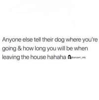 Funny, Memes, and House: Anyone else tell their dog where you're  going & how long you will be when  leaving the house hahaha Aesarcasm.cny SarcasmOnly