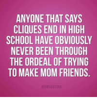 Memes, 🤖, and High School: ANYONE THAT SAYS  CLIQUES END IN HIGH  SCHOOL HAVE OBVIOUSLY  NEVER BEEN THROUGH  THE ORDEAL OF TRYING  TO MAKE MOM FRIENDS Rachel 💜