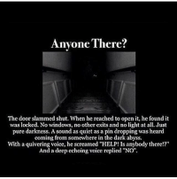 """Creepy, Memes, and Windows: Anyone There?  The door slammed shut. When he reached to open it, he found it  was locked. No windows, no other cxits and no light at all. Just  pure darkness. A sound as quiet as a pin dropping was heard  coming from somewhere in the dark abyss  With a quivering voice, he screame  Ts anybody there!?""""  And a deep echoing voice replied """"NO"""". Follow me @creepy.fact for more scary stories daily!!! 😈👍"""