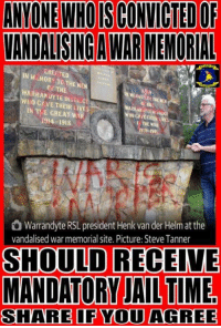 Share If You Agree: ANYONE WHO IS CONVICTED OF  VANDALISING A WAR MEMORIAL  EREOTED  NM MORY TO THE MEN  OE THE  WARRANOYTE DISTRICT  WHO CAVE THEIR LIVES  EN TE CREATI,, .  1914-1918  1939-145  Warrandyte RSL president Henk van der Helm at the  vandalised war memorial site. Picture: Steve Tanner  SHOULD RECEIVE  MANDATORY JAIL TIME  SHARE IF YOU AGREE