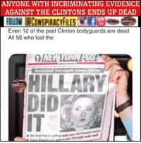 "Facebook, Illuminati, and Memes: ANYONE WITH INCRIMINATING EVIDENCE  AGAINST THE CLINTONS ENDS UP DEAD  FOLLOW CONSPIRACYFILESf  Even 12 of the past Clinton bodyguards are dead  All 56 who lost the  Bombshell Travelgate memo claims  HILLARY  ●She fired travel staff ""o make  dy u Double tap and tag a friend! CHECK US OUT ON FACEBOOK! (Link in bio) SUBSCRIBE ON YOUTUBE! @conspiracyfiles YouTube Anyone with incriminating evidence against the Clintons ends up dead. ThingsThatMakeYouGoHmmm @hillaryclinton (Comment your thoughts below👇🏼) ConspiracyFiles ConspiracyFiles2 QuestionEverything HillaryClinton BillClinton MainstreamMedia CNNFakeNews TrilateralCommission CorruptGovernment FreeMasons WakeUpSheeple Sheeple CorporationSlayer Rothschild UncleSam UncleScam Illuminati Bilderberg NewWorldOrder Conspiracies Conspiracy ConspiracyTheory ConspiracyFact ConspiracyTheories ConspiracyFiles Follow back up page! @conspiracyfiles2 Follow @uniformedthugs Follow @celebrityfactual Follow @terrorclipz Follow @th3six Follow @historypicture.s Follow @simpsonsprediction.s"