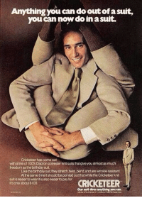 Anything You Can Do: Anything you can do out of a suit,  you can now do in a suft.  Cricketeer has come out  with a line of 100% Dacron polyester knitsuits thatgueyoua!most as much  freedom as the birthday suit  Like the birthday suit they stretch,twist,bend,and are wrinkde resistant  At the same tme it should be pointed out that while the Cricketeer knit  suit is easier to wear t is also easier to pay for  ts only about $100  Our slt does any thing you can