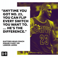 Consider the switch flipped.: ANYTIME YOU  GOT No. 23,  YOU CAN FLIP  EVERY SWITCH  YOU WANT TO.  HE'S THE  DIFFERENCE.  RAPTORS HEAD COACH  DWANE CASEY ON  LEBRON JAMES  BR Consider the switch flipped.